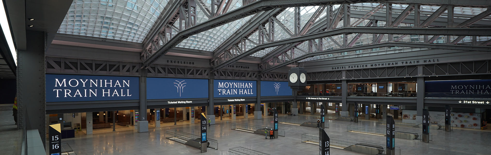 Interview view of soaring trusses and glass roof at Moynihan Train Hall
