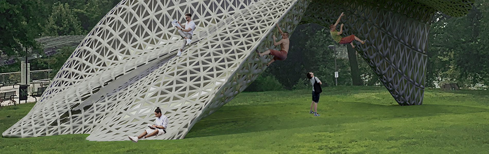 People climbing a gray latticelike structure with a green lawn below.