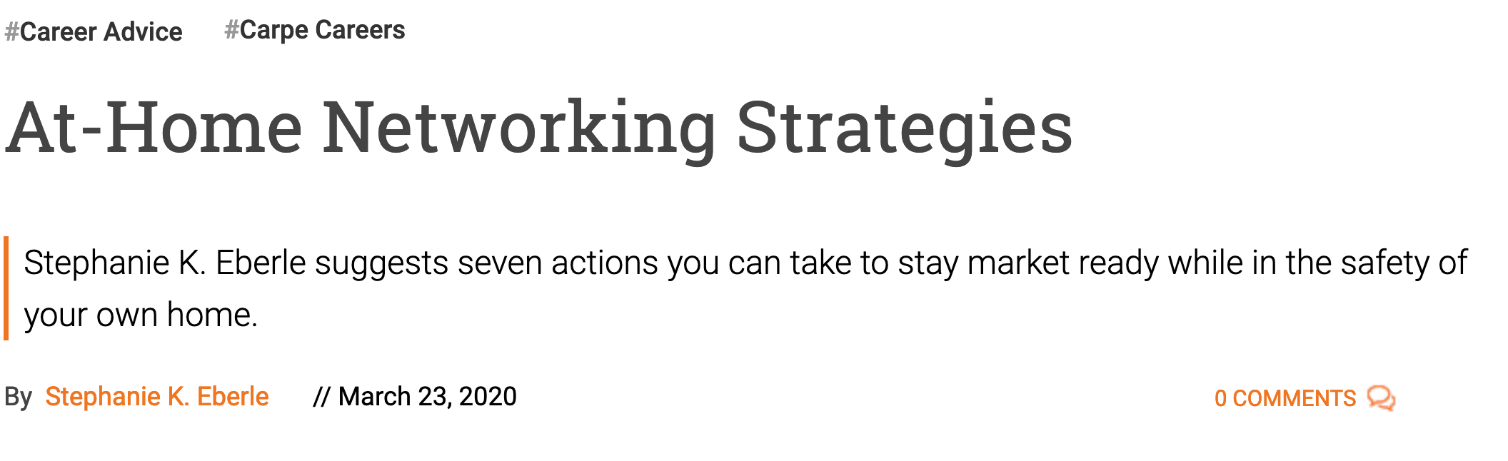 At home networking strategies - seven tips to stay market ready at home