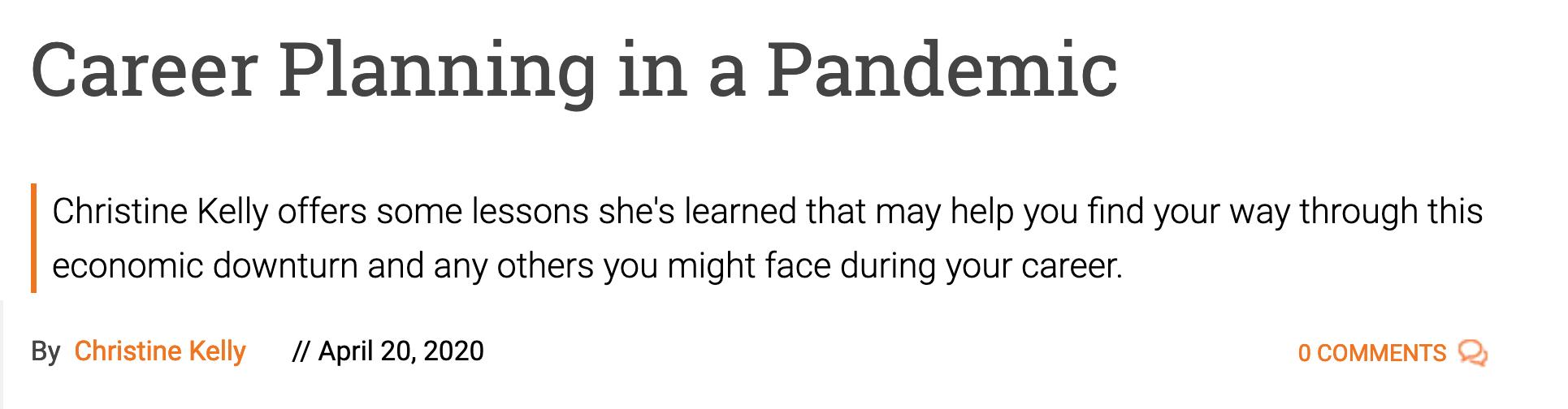 "Screenshot of blog post ""Career Planning in a Pandemic"""