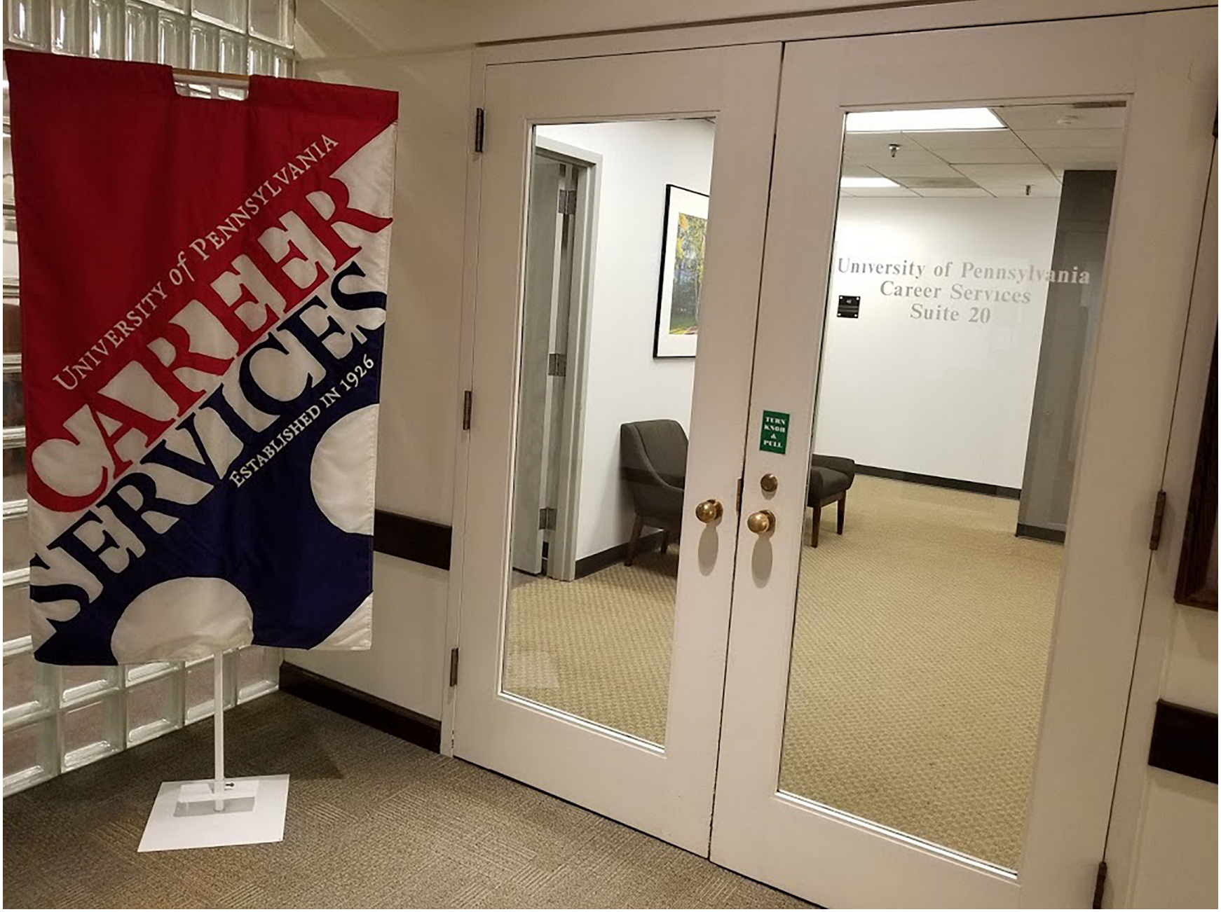 Front doors of Career Services office
