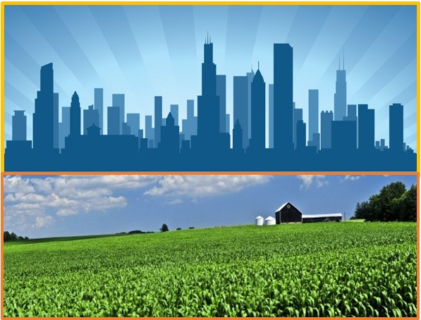 Split Screen image. city skyline and farm