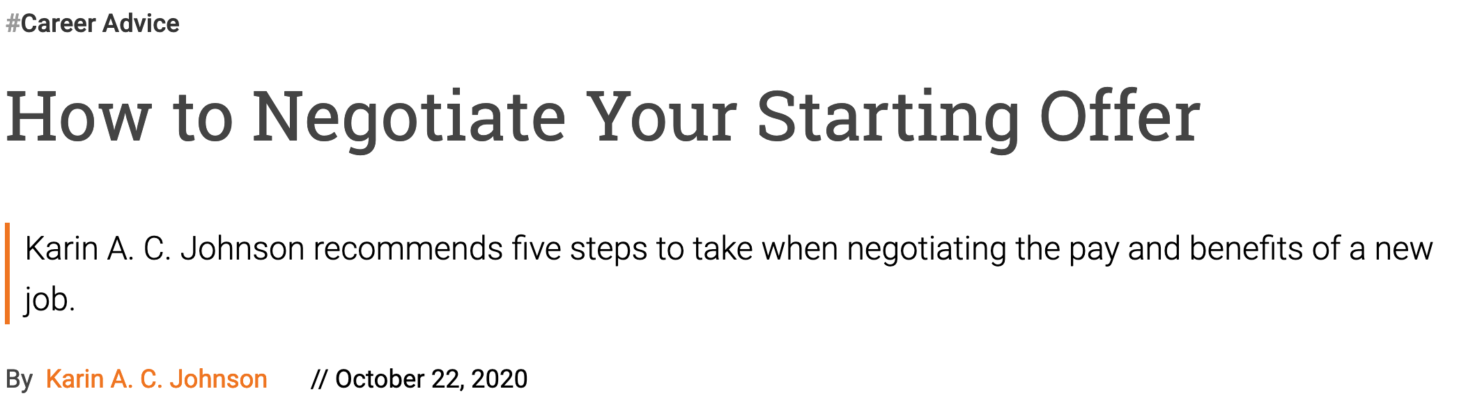 Snap shot of top of article with title How to Negotiate Your Starting Offer