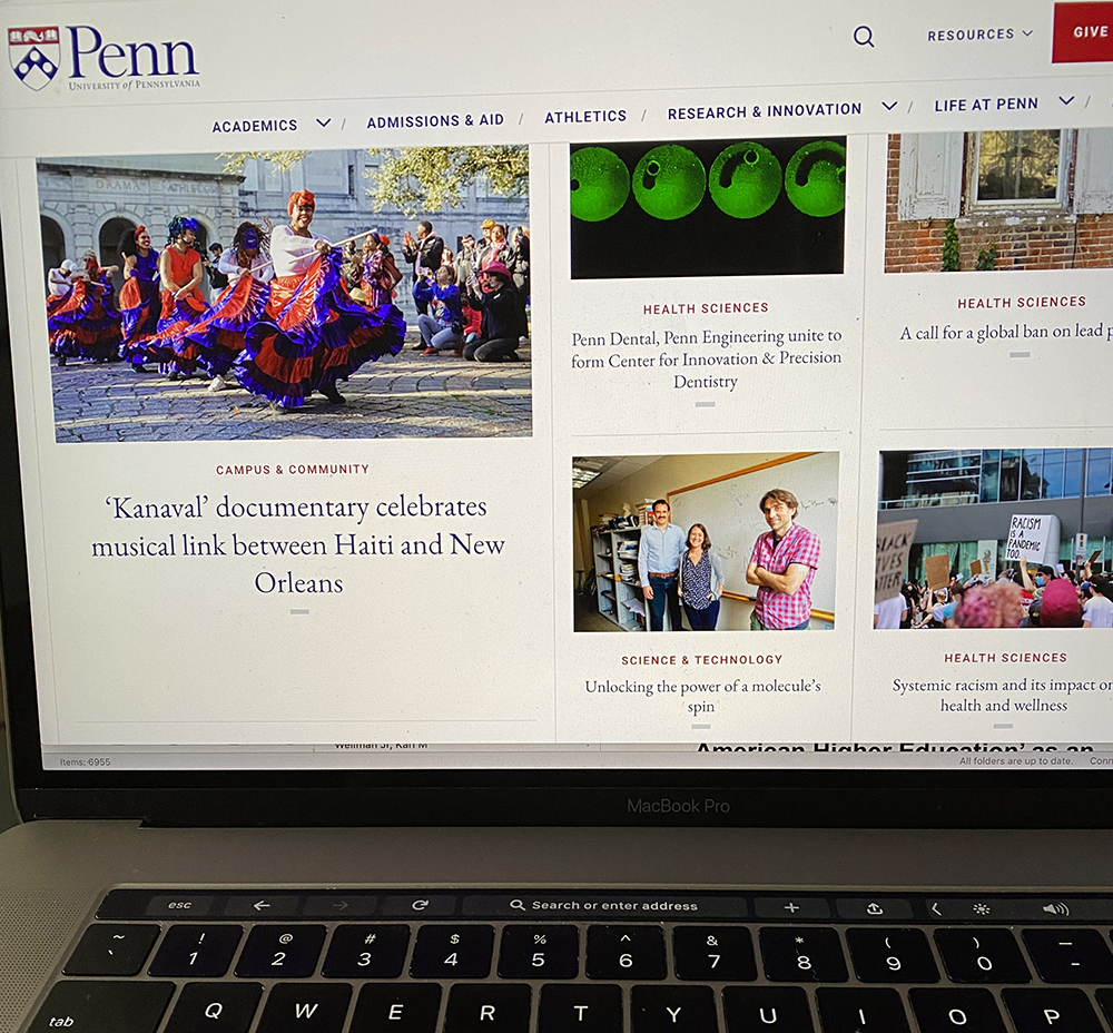 Laptop with upenn.com home screen