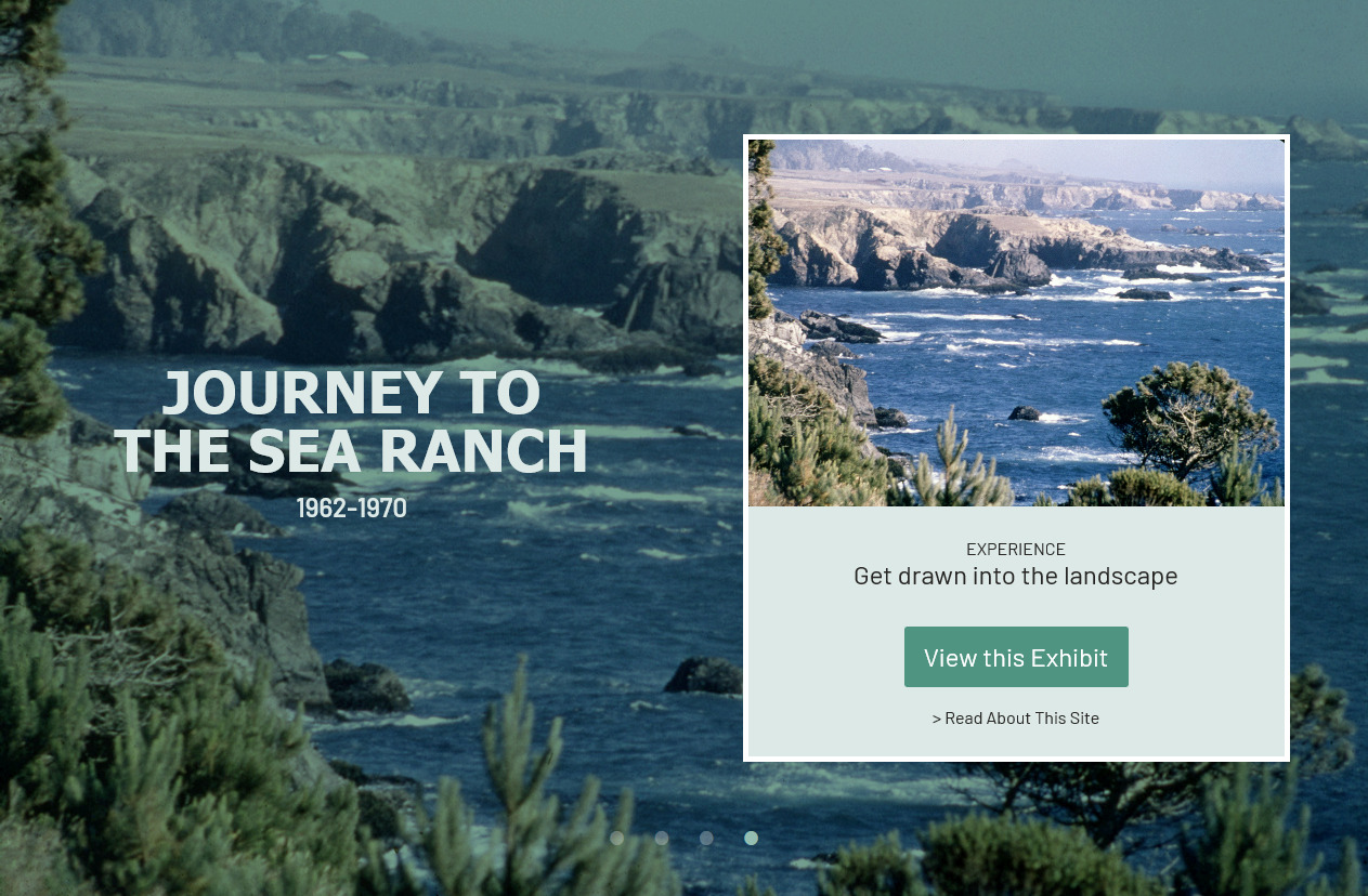 Main page for the Journey to the Sea Ranch Collection site.Photo of beach waves craching into rocks.