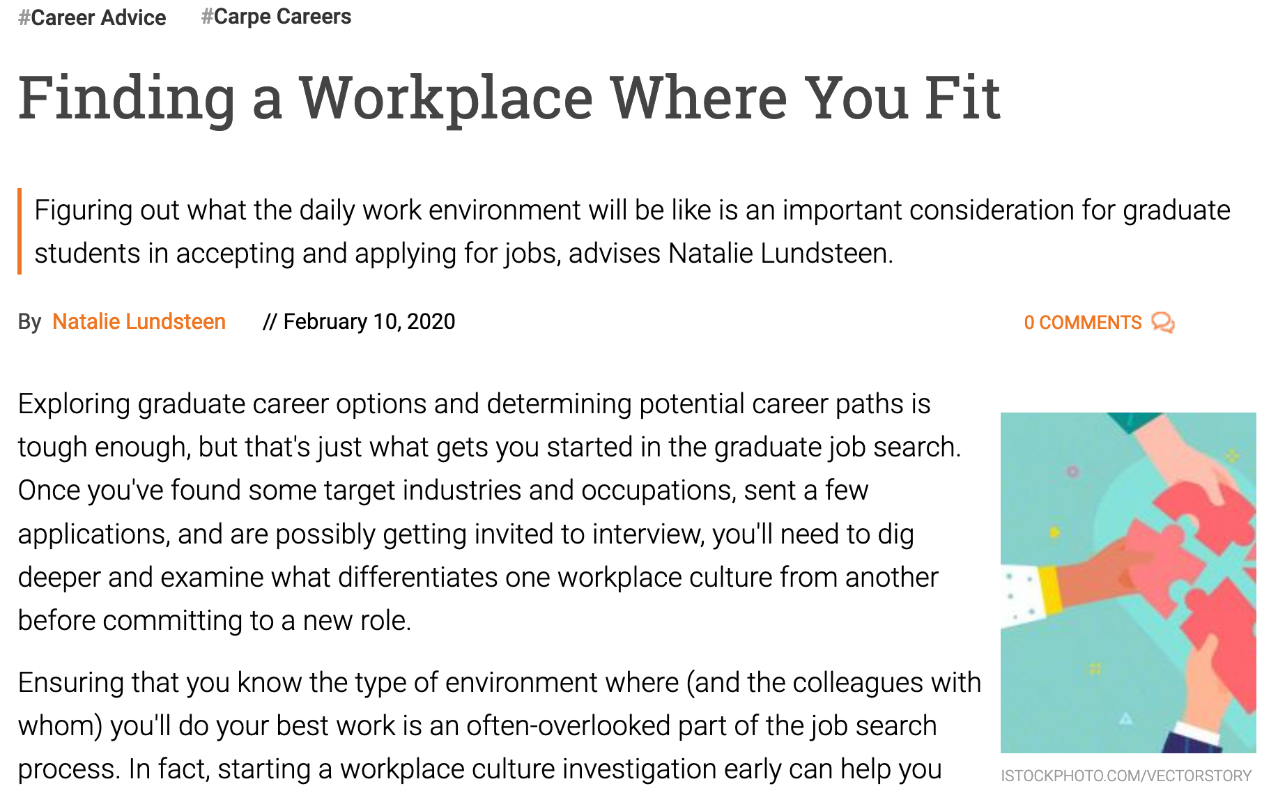 """Screenshot of article """"Finding a workplace where you fit"""""""