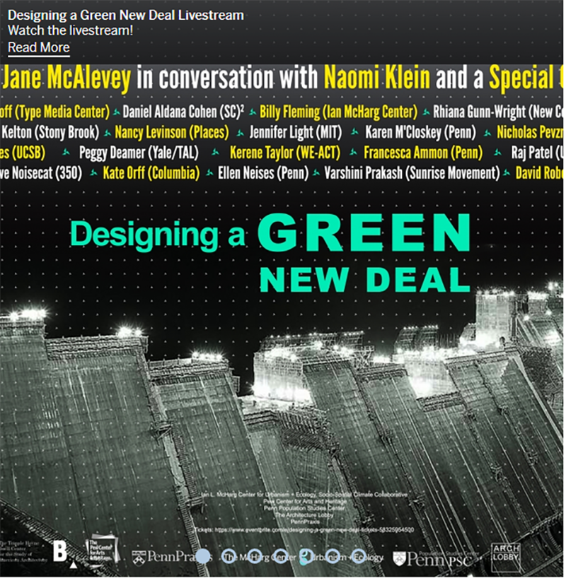 Flyer for the Designing a Green New Deal