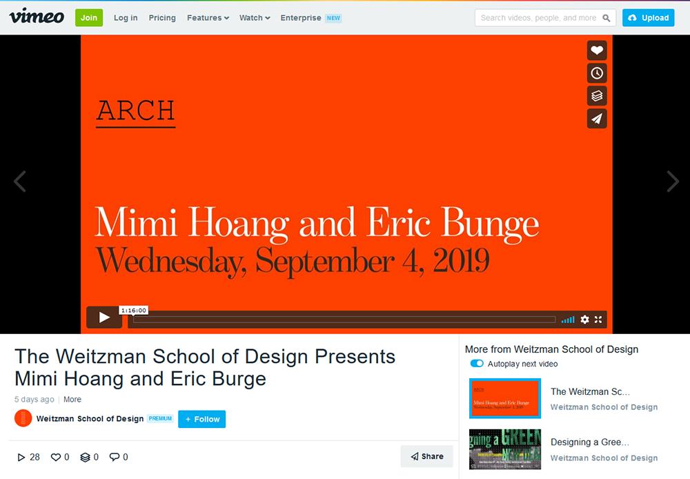 Screen shot of Weitzman School of Design's Vimeo page