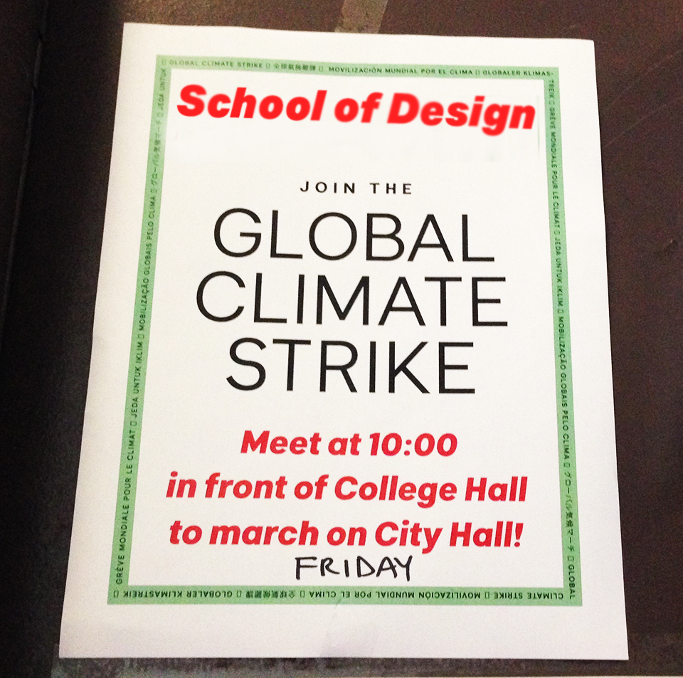 A flyer showing information for the climate strike