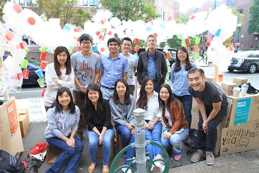 Group photo of students participating in Park(ing) day project
