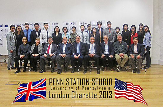 "Group photo of project participants. Text: ""Penn Station Studio University of Pennsylvania London Charette 2013"""
