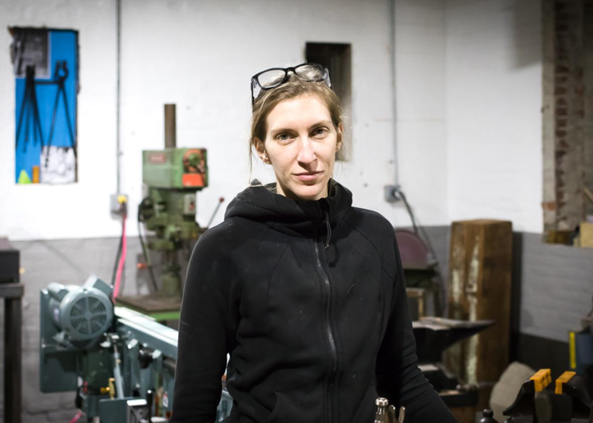 Erica pictured inside her art studio.