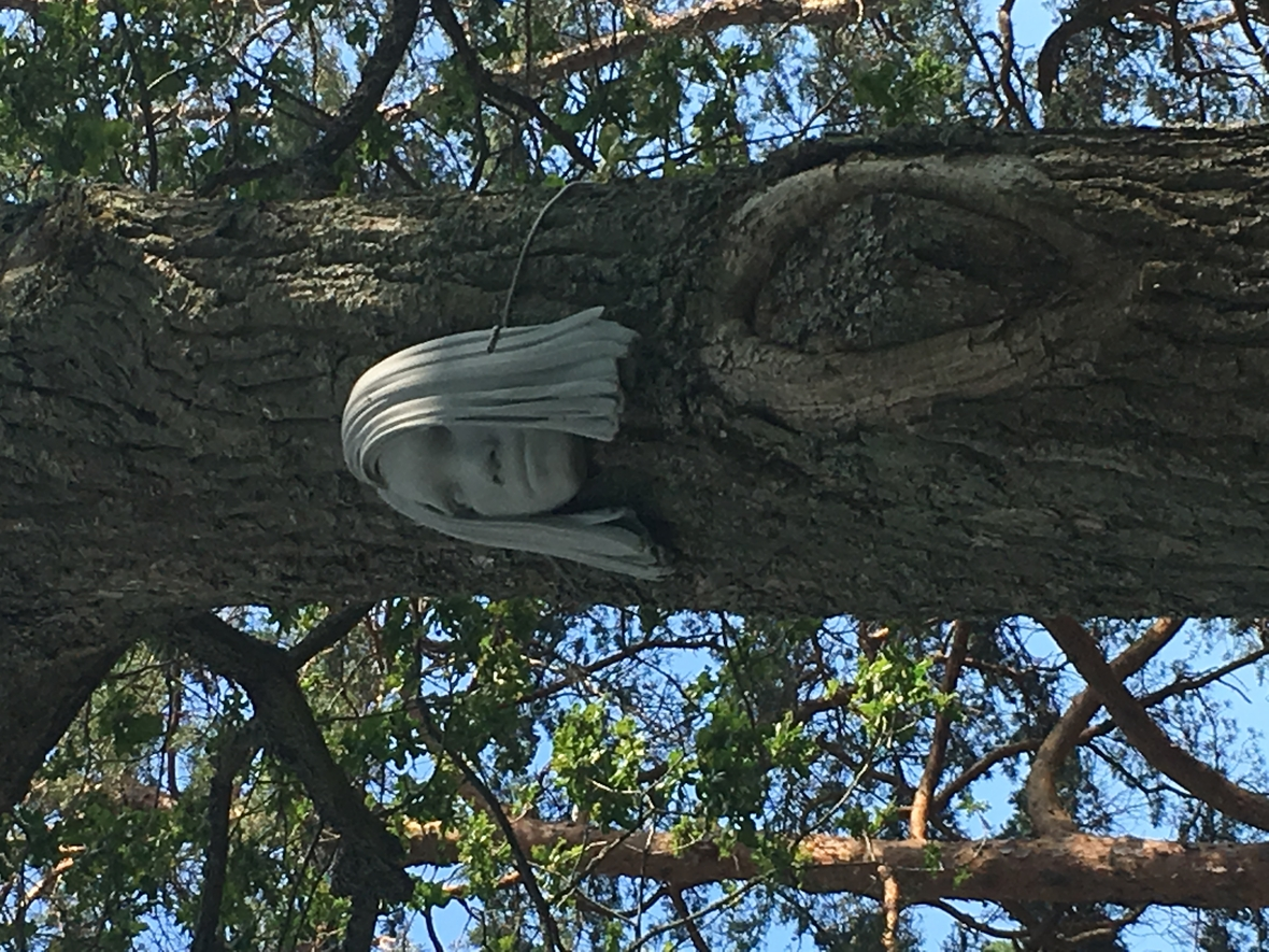image of Backtroms work, a sculpture of a womans head attached to a tree trunk