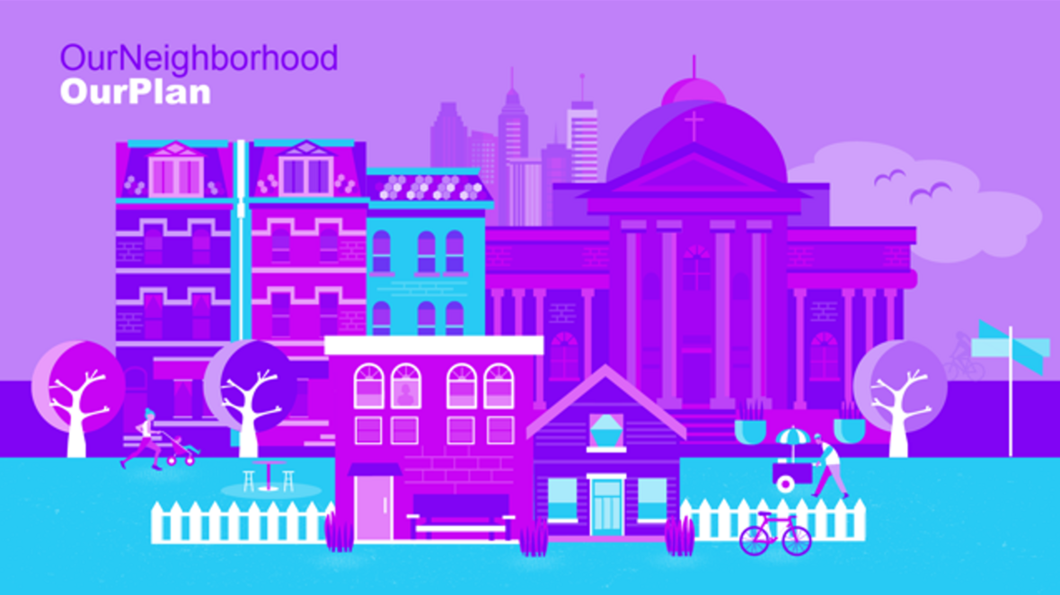 Graphic with bright purple colors depicting different types of buildings: residential and commercial, historic and modern