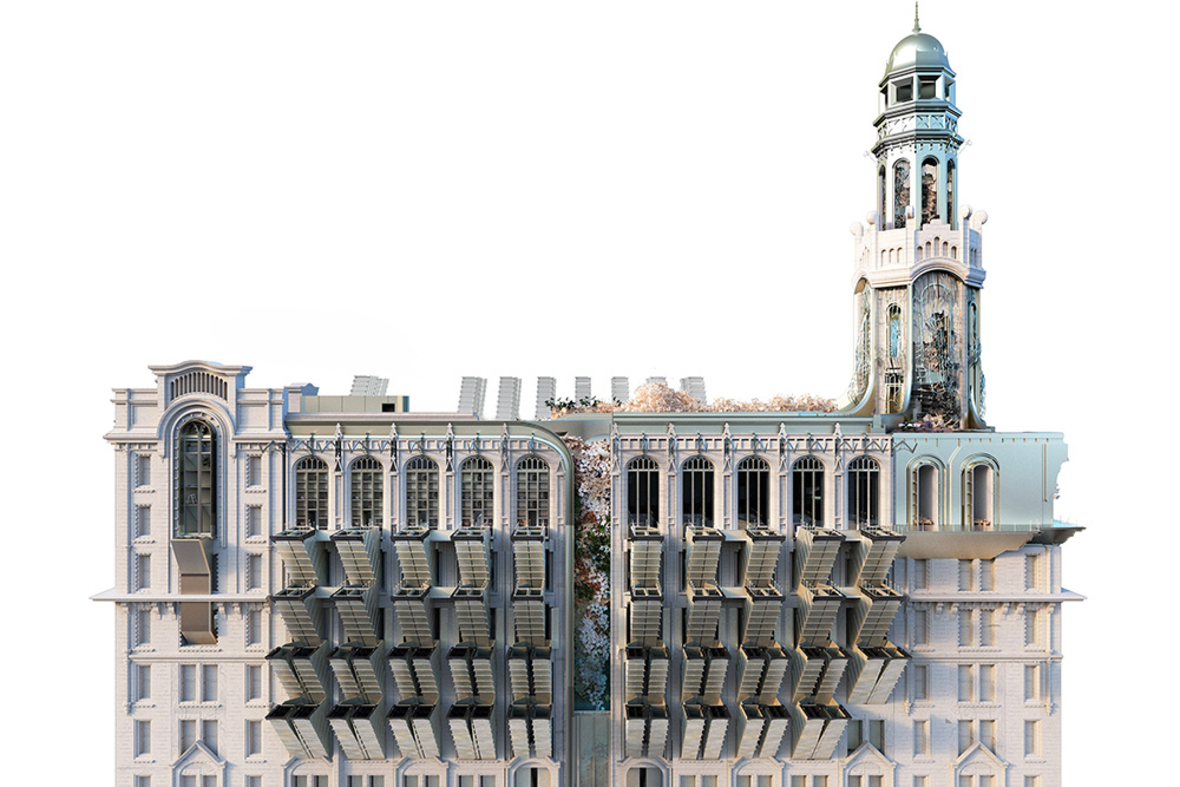 Rendering of an older high-rise building with high tech contemporary interventions