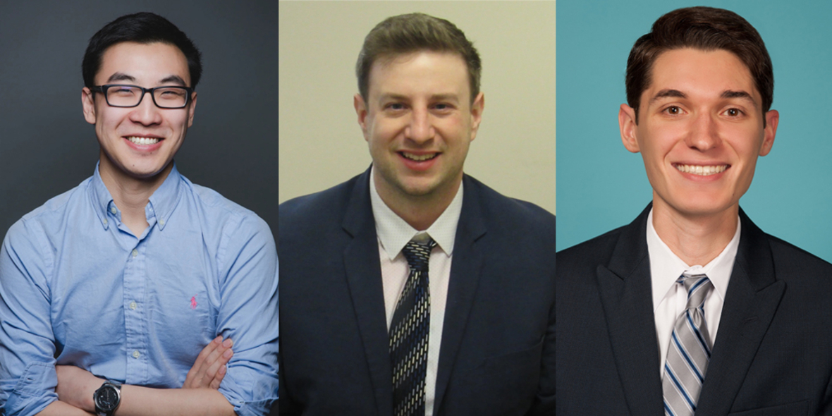 Portraits of our three guest speakers.