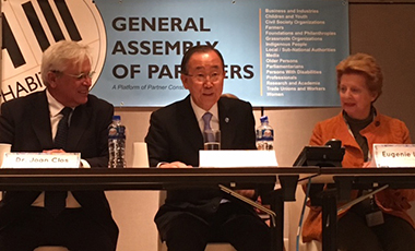 PennDesign's Eugenie Birch with UN Secretary General Ban Ki-moon at Habitat III