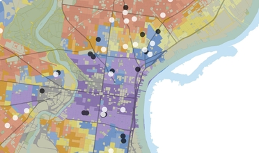 Color coded map of vacant and recently demolished buildings