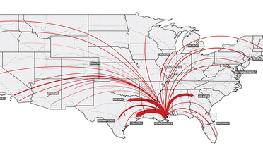 Map of US with red arrows indicating cities where FEMA assistance applications were filed