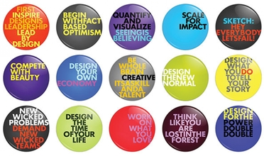 Many buttons with phrases on them.