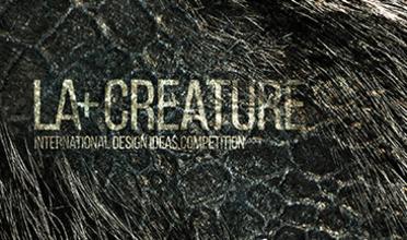 LA+CREATURE lettering on dark fur