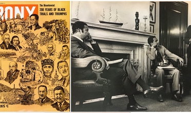 Cover of Ebony Magazine, 1975 featuring drawings of honored individuals and 3 middle aged black men in suits in a grand office