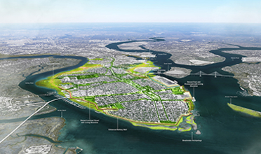 Aerial view of Charleston, South Carolina coastline with proposed design interventions