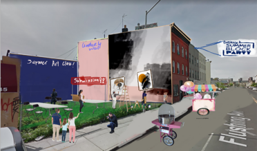 a design of a public space in an urban area, marked with summer art class, grafitti wall, and submission and a sign over the cit
