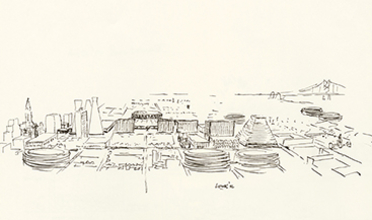 Ink drawing of Philadelphia showing new structures envisioned by Kahn