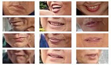 A grid of mouths seen close up, smiling or resting