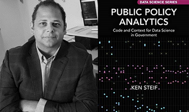 """Ken Steif and cover of """"Public Policy Analytics"""" book"""