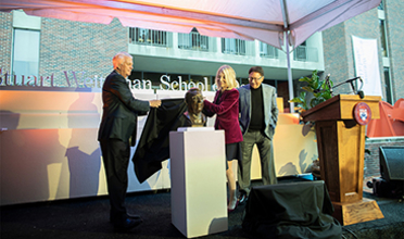 Fritz Steiner and Amy Gutmann unveil bust of Stuart Weitzman