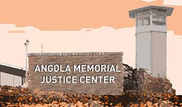 Illustration showing a stone wall with lettering reading Angola Memorial Justice Center