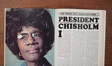 Photo of a spread from a magazine picturing Shirley Chisholm