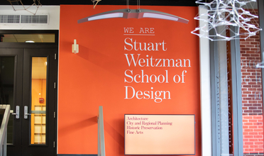 Entryway of Meyerson Hall home to the Stuart Weitzman School of Design
