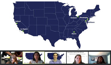 Map of the United States marking six cities with composite of five Zoom meeting panelists