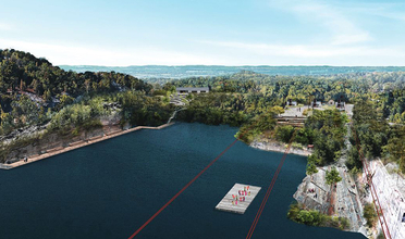 Rendering of a quarry transformed into a park