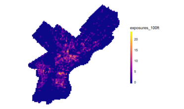 Map showing tobacco seller in Philadelphia. Main concentrations are in the center and southern regions of the city.