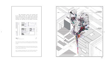 Conceptual axonometric view of apartment building that shows the imbricate foyer, the atrium and rooftop