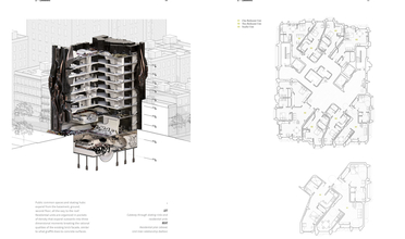 Cutaway and floor plans for apartment complex with large skateboard park in basement