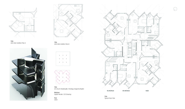 Floor plans for a number of spaces where windows and doors are at a diagonal to the square walls
