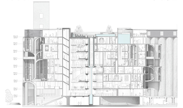 Cutaway drawing of apartment complex/marketplace with many green spaces and balconies