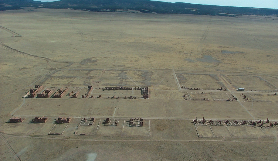 Drone photograph of Ft. Union National Monument, where The Center for Architectural Conservation is working with the U.S. National Park Service to protect the adobe structure from climate change.