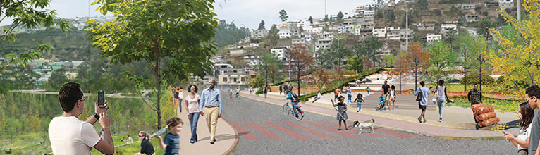 A curving roadway is flanked by a terraced park and grassy hill where people of all ages stroll.