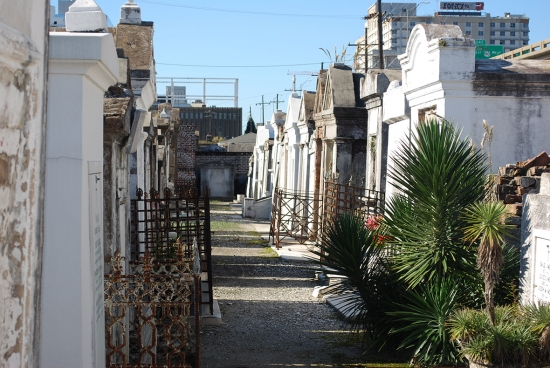 Row of mausoleums in St. Louis Cemetery