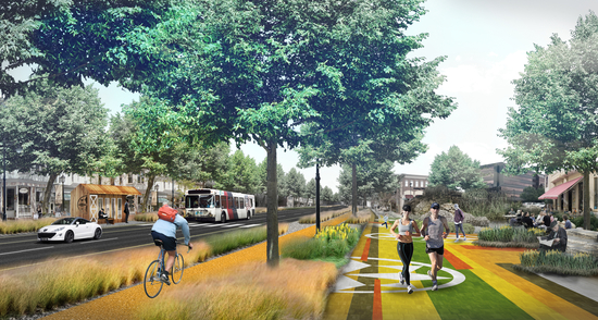 Rendering of walkway and bike path with tall grass landscape features along busy street