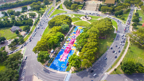 Oval on Ben Franklin Parkway with event going on