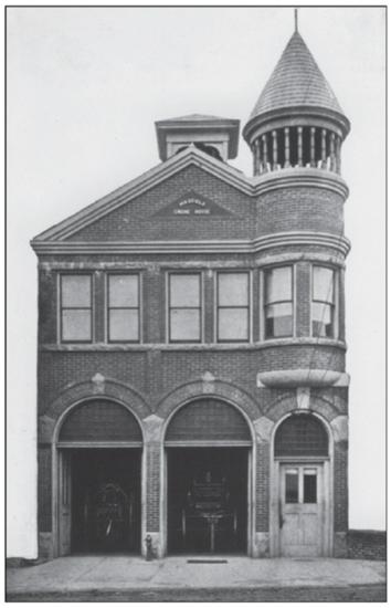 B&W photo of Maxfield fire house