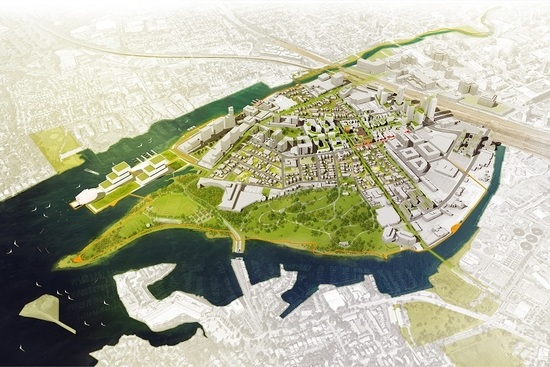 Aerial view of Stamford future development