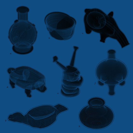 Six black vessels with various protrusions on a blue background